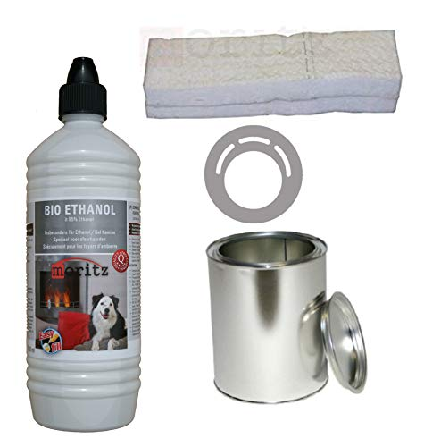 Moritz Starter Set 1 x 1000 ml Bio Ethanol + 1x Blechdose 500 ml mit Deckel + 1x Watte/Keramikwolle + 1x Sparplatte für Brenner Kamin Ofen Sicherheitsbrenner Brennpaste