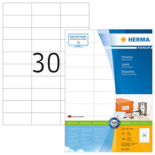 HERMA 4456 Universal Etiketten DIN A4 klein (70 x 29,7 mm, 100 Blatt, Papier, matt) selbstklebend, bedruckbar, permanent haftende Adressaufkleber, 3.000 Klebeetiketten, weiß