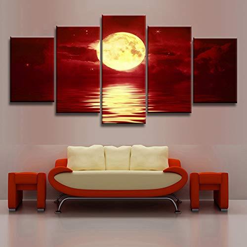 KINYNE Art Mural Rouge d'horizon Impressions sur Toile Paysage Naturel Photos Peinture Décor Moderne - Or Pleine Lune sur La Mer (5 Pièces),B,20X30x2+20X40x2+20X50x1