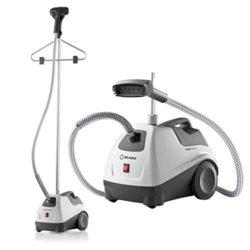 "Reliable Vivio 500GC Garment Steamer - PVC Steam Head and Easy Roll Wheels, Garment Steamer with Removable Hanger, 1 Gallon Water Capacity, 1300W Brass Elements with Auto Shut Off and 63"" Long Hose"