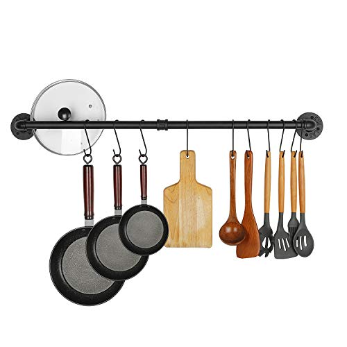 FOYO Industrial Pot Racks - Wall Mount Kitchen Utensils Holder with 14 S Hooks for Pots and Pans - Antique Rustic Cast Iron 38 Inch (Black)