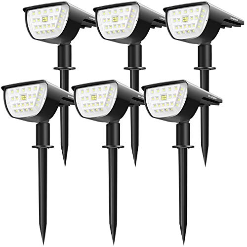 Claoner 32 LED Solar Landscape Spotlights, Wireless Waterproof Solar Landscaping Spotlights, Outdoor Solar Powered Spotlights for Yard Garden Driveway Porch Walkway Pool Patio- Cold White(6 Pack)