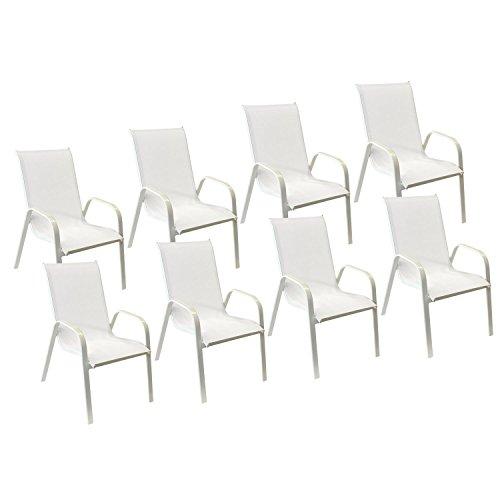 Happy Garden Lot de 8 chaises Marbella en textilène Blanc - Aluminium Blanc