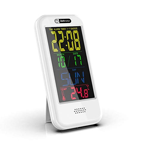 BOQIAN Reloj de Alarma Digital, Reloj Despertador con Pantalla LCD Día Calendario Temperatura Temperatura Easy-to-Leer Cuenta Regresiva Reloj para el hogar, Oficina, Dormitorio