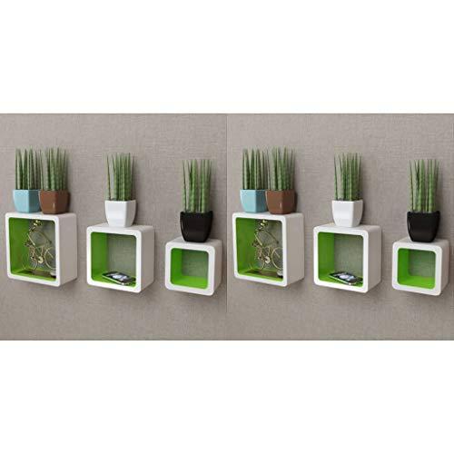 vidaXL 6X Étagère Murale Forme de Cube Blanc et Vert Meuble de Rangement