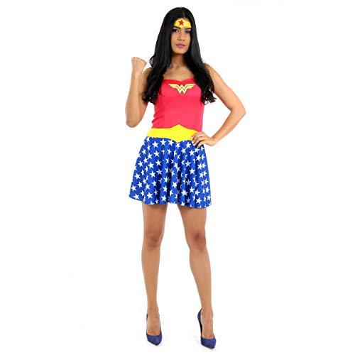 Fantasia Mulher Maravilha Verão Adulto Sulamericana Fantasias Azul/Vermelho PP 36
