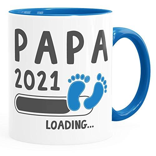 Kaffee-Tasse Papa 2019 loading Geschenk-Tasse für werdenden Papa Schwangerschaft Geburt Baby Tee-Tasse MoonWorks® blau unisize