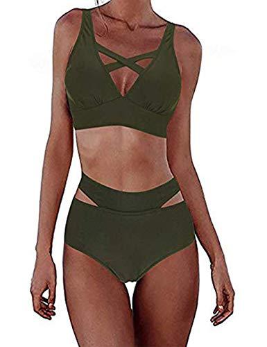 FeelinGirl Damen Elegant Bikini-Sets Neckholder Zweiteilig Strandmode, Grün 2, Gr.- XXL