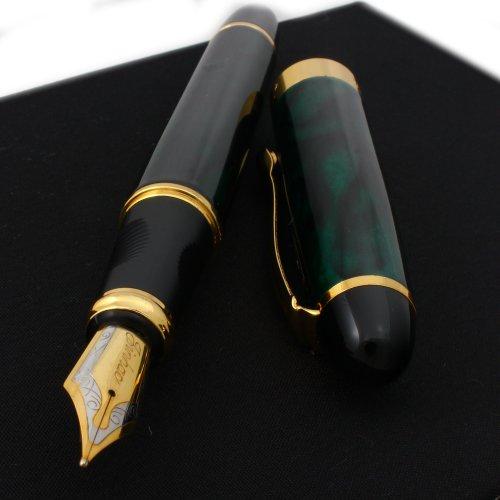 Jinhao F202 - Penna stilografica dorata, 18 K, colore: verde, nero