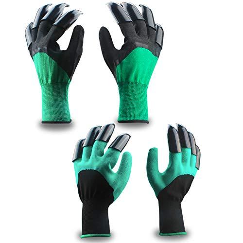 Guantes de jardin Mano izquierda y la derecha (2 pares 8 garras ), Eiito guantes de jardinería con garras de excavación para el jardín y tareas del hogar