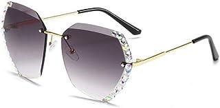 QPRER - Gafas De Sol,Gafas De Sol Sin Montura De Cristal Gris Dorado Para Mujer Gafas De Sol Polarizadas De La Calle Gafas De Sol De Playa Gradiente Gafas De Sol Para Niña Fiesta Gafas Para Familias Via