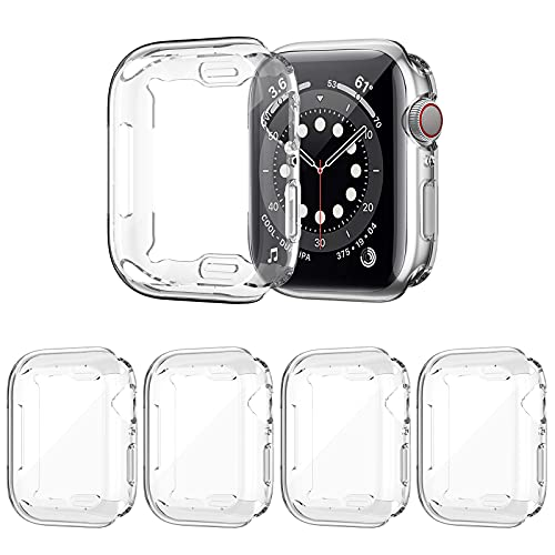 ZEBRE 4 Pack Screen Protector Compatible with Apple Watch 6/Series SE/Series 5/Series 4 44mm, Ultra Thin HD Screen Case Full Coverage Protective Cover Compatible with iWatch Series SE/6/5/4