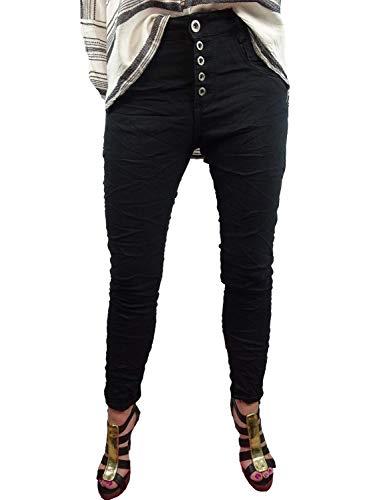 Karostar Denim Stretch Baggy-Boyfriend-Jeans Boyfriend 4 Knöpfe offene Knopfleiste weitere Farben (S-36, Black Jogg)