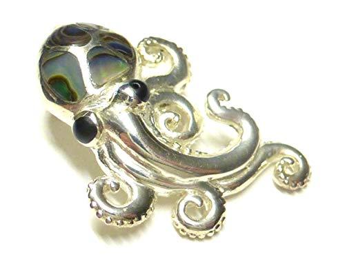 Kettenanhänger, Anhänger Silber, Motiv Krake, mit Abalone Muschel, aus 925% Sterling Silber gearbeitet, Geschenk, für Tierschützer und Taucher
