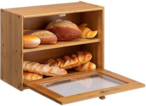 Panera de bambú de 2 capas de gran capacidad para almacenamiento de pan con ventana transparente, adecuado para cocina o...