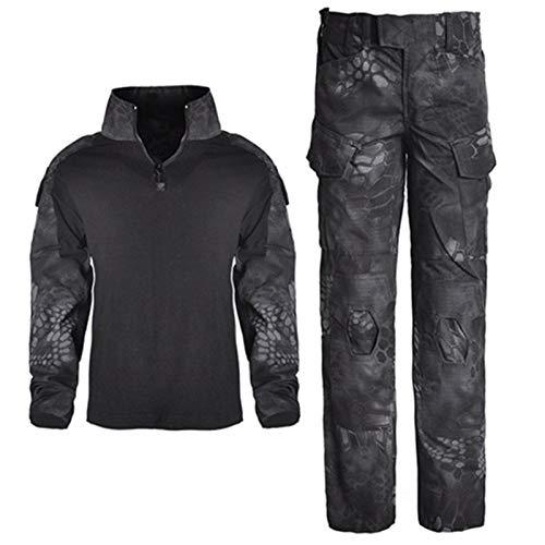 YUANYUAN520 Taktische Weste für Kinder im Freien, Hose und Hemden, Anzug für Armee, Militär, Uniform, Militär, taktische Ausrüstung für die Jagd für Kinder (Farbe: schwarze Schlange, Größe: L)