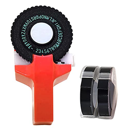 Rainao Impresora de etiquetas 3D manual, impresora de etiquetas de click, modelo pequeño, impresora de etiquetas manual, máquina de grabado con cinta adhesiva, para bricolaje, oficina de negocios