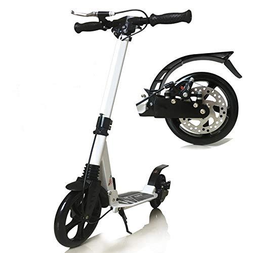 City Scooter para Adultos Plegables Patada para niños Scooter de Pliegue rápido Sistema de Choque Mecanismo Mecanismo Scooter Plegable Grande 200 mm Ruedas Gran Scooter-Blanco