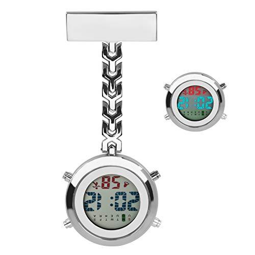 Reloj de Enfermera, Luckits Clip en Médico Reloj de Bolsillo Cuarzo Digital Reloj de Bolsillo Médico con luz de Fondo/Calendario/Despertador/cronómetro para Enfermera médico Mujeres (Plata)