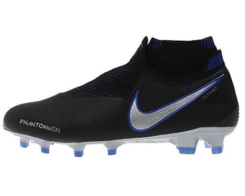 Nike Phantom VSN Elite DF FG, Botas de fútbol Unisex Adulto, Multicolor (Black/Metallic Silver/Racer Blue 4), 43 EU