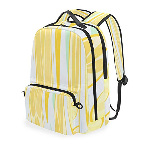 A Piece Of Fresh Juicy Yellow Lemon Daypacks For Travel Two In One Detachable Fashion Backpack Casual Lightweight Cloth Canvas Classical Basic Travel Printed Computer Backpacks For Laptops For Men An