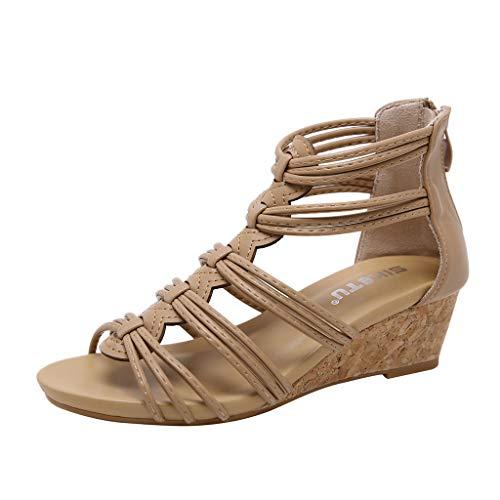 Römer Sandalen Damen Keilabsatz Plateau Wedge Sommer Elegant Schuhe Frauen Leder Vintage Reißverschluss Sommersandalen