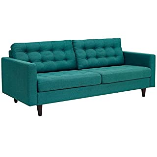 Modway Empress Mid-Century Modern Upholstered Fabric Sofa In Teal (B076Z67ZW2) | Amazon price tracker / tracking, Amazon price history charts, Amazon price watches, Amazon price drop alerts