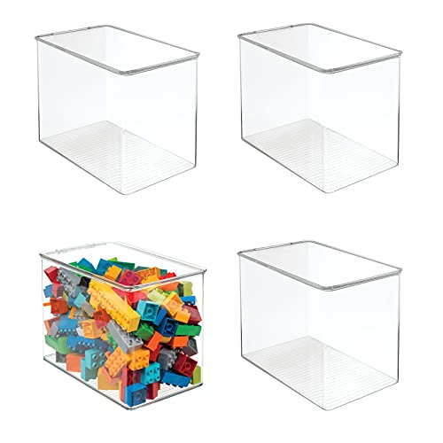 mDesign Stackable Closet Plastic Storage Bin Box with Lid - Container for Organizing Child's/Kids Toys, Action Figures, Crayons, Markers, Building Blocks, Puzzles, Crafts - 9' High, 4 Pack - Clear