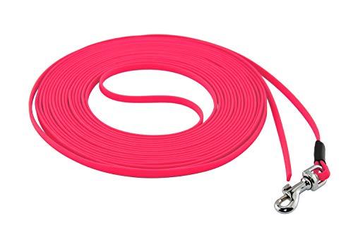 LENNIE Ultraleichte BioThane Schleppleine, 5mm, Hunde/Katzen bis 3 kg, 5m lang, ohne Handschlaufe, Neon-Pink, genäht