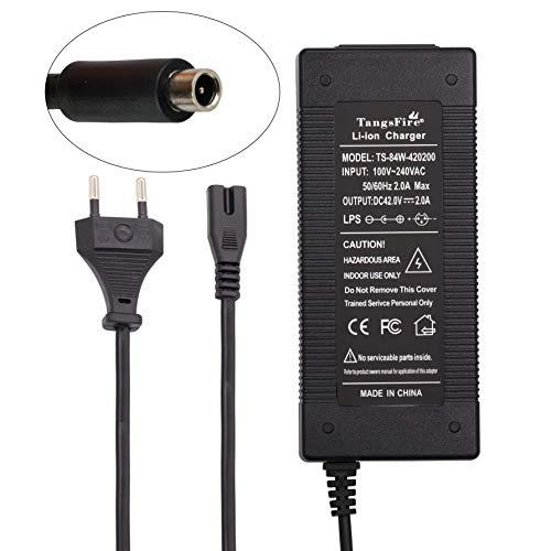 TangsFire Chargeur de Lithium Batterie pour vélo 36V, Chargeur 42V 2A pour connecteur RCA pour vélo électrique (RCA10MM)