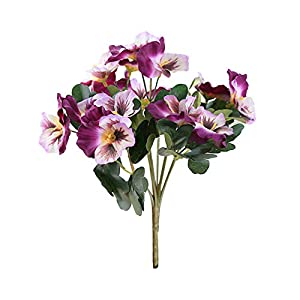 BARMI Artificial Flowers,1Pc Artificial Flower Pansy Garden DIY Stage Party Home Wedding Craft Decoration,Make Your Life be Full of Beautiful Vitality, Good Memories Purple