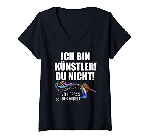 Damen Künstler Pinsel Hand Farben Illustrator Digital Artist Bunt T-Shirt mit V-Ausschnitt