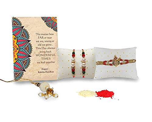 Collectible India Combo Of 4 Rakhi For Brother, Bhaiya, kids and Bhabhi with Beautiful Gift set, Rakshabandhan Gift Card/Bhabhi Lumba Rakhi/Krishna Rakhi/Rakhi Gifts