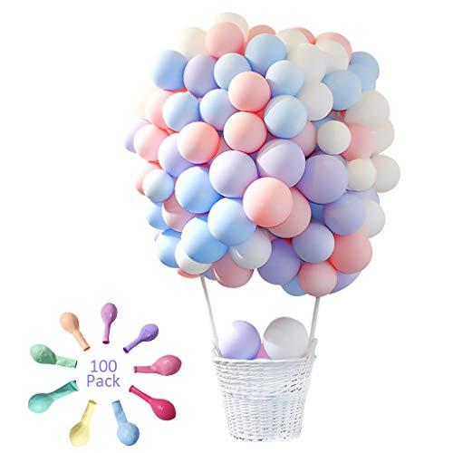 Amycute 100 Stücke Latex Luftballons, Farbige Ballons, Partyballon, Bunte Dekorative Ballons,Geburtstag Luftballons Hochzeitballons für Hochzeit Geburtstag Party Engagement Baby Dusche Dekorative.