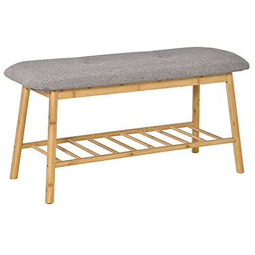 HOMCOM Banco Zapatero Moderno Mueble Recibidor de Bambú con Asiento Acolchado y Estante para Zapatos Entrada Pasillo 90x34x44 cm Color Natural y Gris