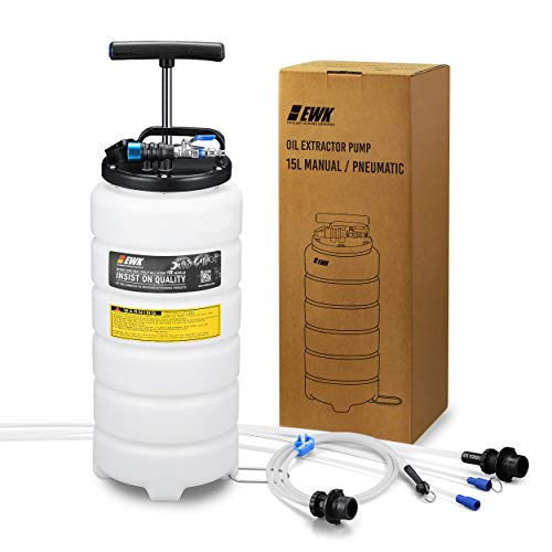 EWK 15L Oil Changer Fluid Vacuum Extractor Oil Pump Extractor Pneumatic Fluid Evacuator + Brake Bleeder Hose