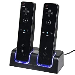 top rated Wii charging station, dual charging station with two 2800mAh batteries for Wii remote control … 2021