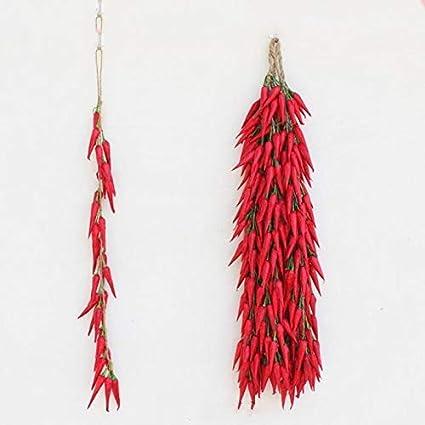 Velidy K/ünstliche k/ünstliche k/ünstliche Knoblauchpflanze zum Aufh/ängen Seil rote Pfeffer Heimdekoration 5 St/ück Chili Fotografie-Requisiten k/ünstliche Zwiebeln