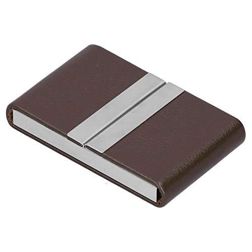 Portatarjetas de visita, bolsillo doble para portatarjetas de visita abierto, práctico tarjetero para trabajos comerciales(Brown, 400#)