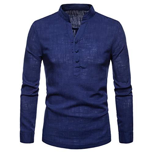 ZIYOU ZIYOU Herren Langarm Hemd Poloshirt, Herbst Winter Leinen Polohemd Pullover/Casual Slim fit Polo T-Shirt Tops (M,Navy Blau)