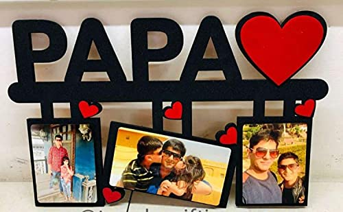 """The Customizers MDF Wood Customized Papa With 3 Photo Of Your Choice Wall Frame for Father's Day Special (Size 12""""x 8"""" inch)"""