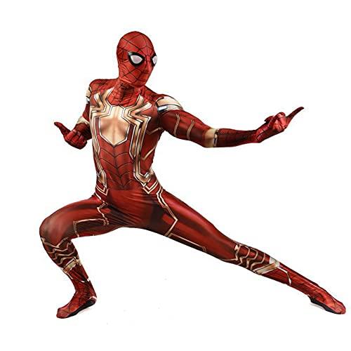 Xyh723 Iron Spider-Man Disfraces Niños Cosplay Jumpsuit Boys Halloween Halloween Medias De Navidad Adulto Superhéroe Onesies Niño Impresión 3D Fancy Dress Body,Red-Kids/XL(130~145CM)