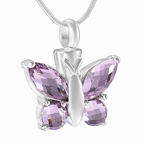 KBFDWEC Urna con Forma de Mariposa, joyería Conmemorativa con Diamantes de imitación Brillantes, joyería de cremación, Collar con Colgante de urna, Accesorios de Moda para Mujer