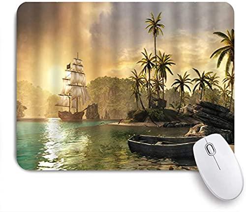 HARXISE Alfombrilla Gaming,Barco Pirata Medieval Océano Aventura en la Isla desierta Cocotero,con Base de Goma Antideslizante,240×200×3mm