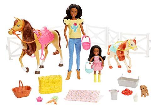 Barbie FXH16 - Reitspaß mit Barbie brünett und Chelsea brünett, Pferd und Pony, Spielzeug ab 3 Jahren