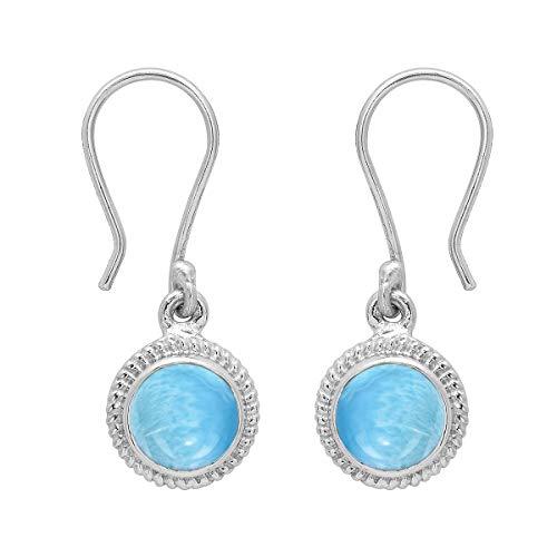 Ronda de opción múltiple Forma de piedras preciosas de plata de ley 925 Pendiente colgante colgante solitario de plata Regalo para ella (Larimar)