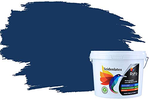RyFo Colors Seidenlatex Trend Blautöne Marineblau 3l - bunte Innenfarbe, weitere Blau Farbtöne und Größen erhältlich, Deckkraft Klasse 1