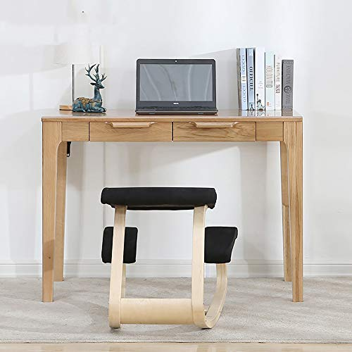 LZZL Ergonomisches Balancing Kneeling Chair | Rocking Posture Wood Stool | Für das Home Office & Desk Chair | Großer Seat, Dicke Knie-Kissen,Black