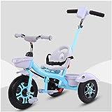 Triciclo Trike Bicicleta de niños Triciclo Trike Bicicleta de bebé, Rueda de goma, con varilla de empuje desmontable, rueda trasera con freno, adecuada para bebés de 2-5 años 1bicycle Regalo Blue
