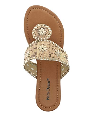 Pierre Dumas Womens Rosetta-1 Fashion Sandal,Natural, 8 B(M) US
